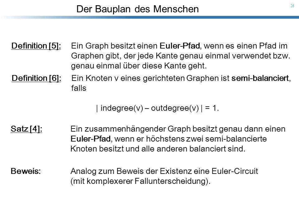 Definition [5]: Ein Graph besitzt einen Euler-Pfad, wenn es einen Pfad im
